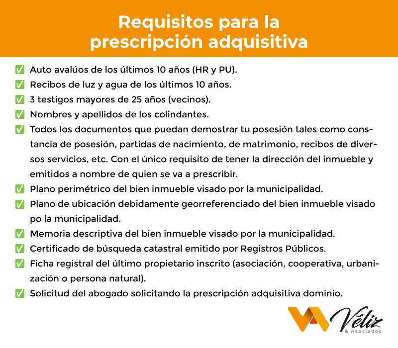 Requisitos para la prescripción adquisitiva de dominio Perú 2021