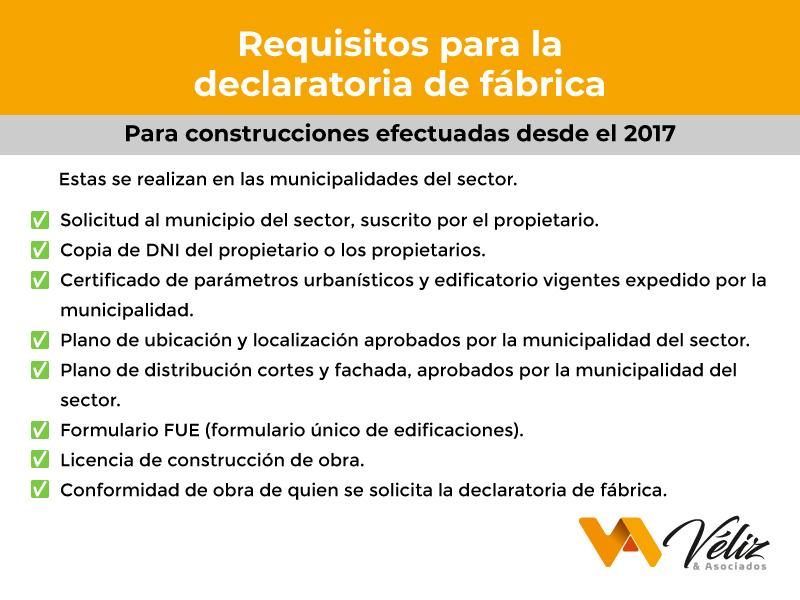Requisitos para construcciones efectuadas desde el año 2017 Perú 2021