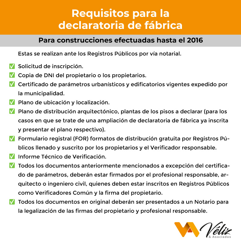 requisitos para la declaratoria de fábrica en edificaciones efectuadas hasta el 2016 Perú 2021